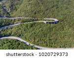 aerial view on road serpentine... | Shutterstock . vector #1020729373