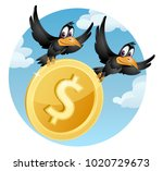 flying crows carries the symbol ... | Shutterstock .eps vector #1020729673