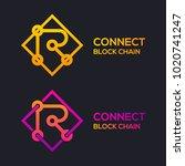 letter r colorful dots logo... | Shutterstock .eps vector #1020741247