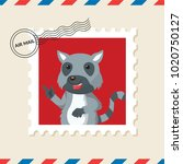 lemur postage stamp on air mail ... | Shutterstock .eps vector #1020750127