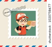 pizza delivery boy postage... | Shutterstock .eps vector #1020758677