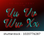 3d neon led font. liquid matte... | Shutterstock .eps vector #1020776287