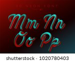 3d neon led font. liquid matte... | Shutterstock .eps vector #1020780403