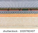 exterior of old korean wall and ... | Shutterstock . vector #1020782437