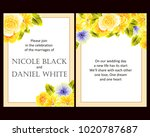 invitation with floral... | Shutterstock . vector #1020787687