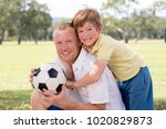 young happy father and excited... | Shutterstock . vector #1020829873