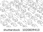 sketch traffic jam car plug... | Shutterstock .eps vector #1020839413