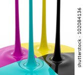 CMYK liquid inks spilling, 3D render image - stock photo