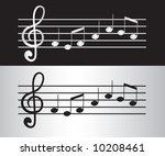 silver musical notes... | Shutterstock . vector #10208461