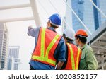 back view group of engineer ... | Shutterstock . vector #1020852157