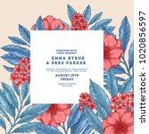 floral retro wedding invitation.... | Shutterstock .eps vector #1020856597
