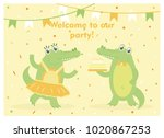 happy birthday card with fun... | Shutterstock .eps vector #1020867253