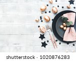 rustic easter table setting... | Shutterstock . vector #1020876283