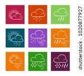vector set of weather icons.... | Shutterstock .eps vector #1020877927