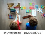 kids learning numbers  mental... | Shutterstock . vector #1020888733