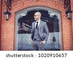 handsome young businessman in... | Shutterstock . vector #1020910657