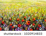 flowers painting  red poppies ...   Shutterstock . vector #1020914833