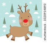 cute christmas reindeer | Shutterstock .eps vector #1020914893
