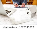 young female architect and...   Shutterstock . vector #1020919897