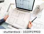 young female architect and...   Shutterstock . vector #1020919903