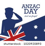 anzac day poster with military... | Shutterstock .eps vector #1020920893