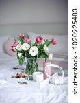 romantic breakfast in bed.... | Shutterstock . vector #1020925483