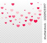 pink hearts random falling on... | Shutterstock .eps vector #1020925597