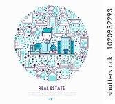 real estate concept in circle ... | Shutterstock .eps vector #1020932293