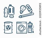 garbage wastes trash line...   Shutterstock .eps vector #1020935893