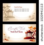 horizontal business card with... | Shutterstock . vector #1020941113