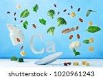 flying foods rich in calcium.... | Shutterstock . vector #1020961243