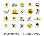 collection of vector flat food... | Shutterstock .eps vector #1020979987