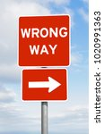 wrong way direction signpost... | Shutterstock . vector #1020991363