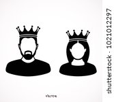 king and queen icons in simple... | Shutterstock .eps vector #1021012297