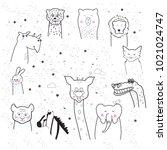 animal cartoon set isolated on... | Shutterstock .eps vector #1021024747