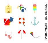 beach travelling related stuff... | Shutterstock .eps vector #1021036837