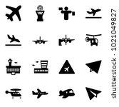 solid vector icon set   plane... | Shutterstock .eps vector #1021049827