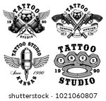 set of monochrome tattoo... | Shutterstock . vector #1021060807