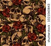 skull with roses seamless... | Shutterstock . vector #1021060843