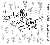 ink pen lettering hello spring... | Shutterstock .eps vector #1021065397