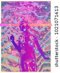 modern glitch design poster or... | Shutterstock .eps vector #1021071613