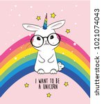 cute rabbit unicorn | Shutterstock .eps vector #1021074043