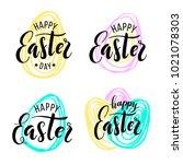 happy easter. lettering on hand ... | Shutterstock .eps vector #1021078303