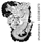 dragon and plum flower tattoo... | Shutterstock .eps vector #1021081873
