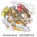 infinity dragon with yin yand... | Shutterstock .eps vector #1021085113