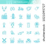 holland flat icons set | Shutterstock .eps vector #1021095727