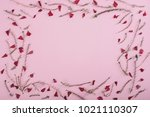 floral pattern frame with... | Shutterstock . vector #1021110307