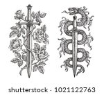 hand drawing of two medieval... | Shutterstock . vector #1021122763