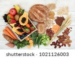 healthy high fibre diet food... | Shutterstock . vector #1021126003