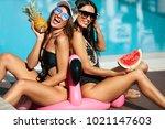 sexy girls in swimsuits having... | Shutterstock . vector #1021147603